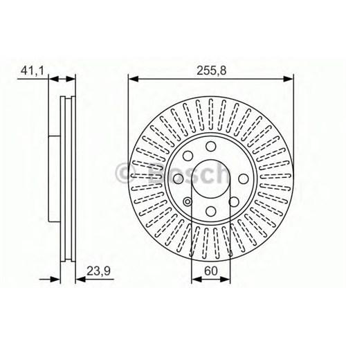 Bosch 0986479R76 Ön Fren Aynası Havalı Astra G 1.6 (98-05)-Zafıra 2.0Dı 16V(99-05) (256X24x4dlxhavalı)(0986478881)