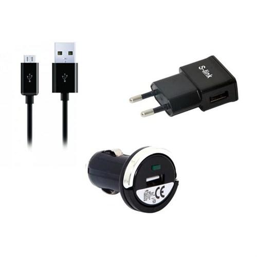 S-Link Smg-442 S-Lınk Micro Usb 5P Akıllı Telefonlar 1000Ma 3 İn 1 Ev + Araba Şarjı Ve Kablosu