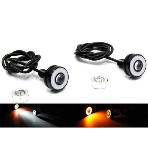 Modacar Motorsiklet Cob Turuncu Halkalı Beyaz Projektör Mercek Lamba 104714