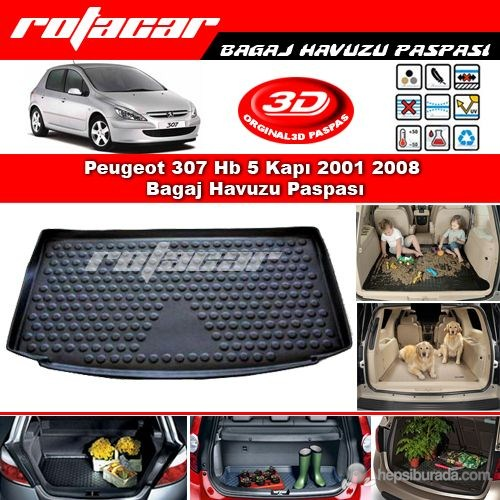 Peugeot 307 Hb 5 Kapı 2001 2008 Bagaj Havuzu Paspası BG0146