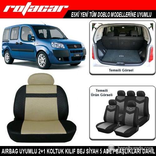 Fiat Doblo Koltuk Kılıfı Bej Siyah Kket015