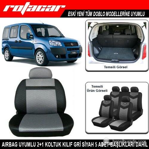 Fiat Doblo Koltuk Kılıfı Gri Siyah Kket014