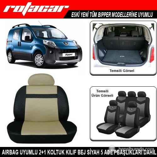 Peugeot Bipper Koltuk Kılıfı Bej Siyah Kket009
