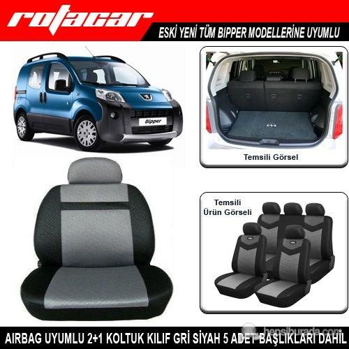 Peugeot Bipper Koltuk Kılıfı Gri Siyah Kket008