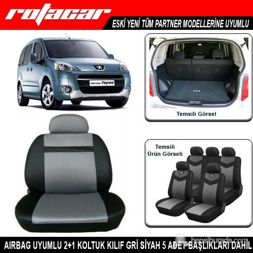 Peugeot Partner Koltuk Kılıfı Gri Siyah Kket005