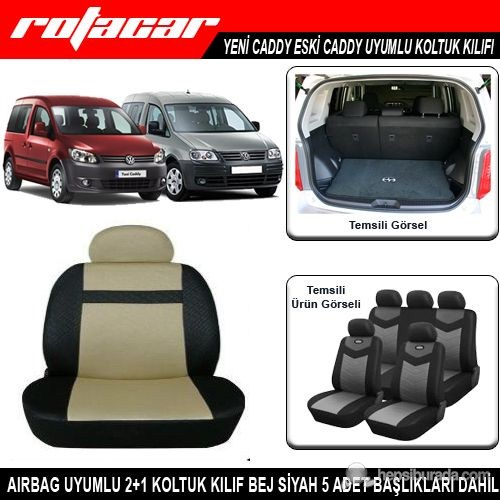 Volkswagen Caddy Koltuk Kılıfı Bej Siyah Kket003