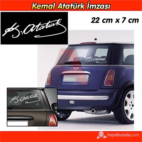 AutoCet BEYAZ K.Atatürk İmza Sticker 3239a
