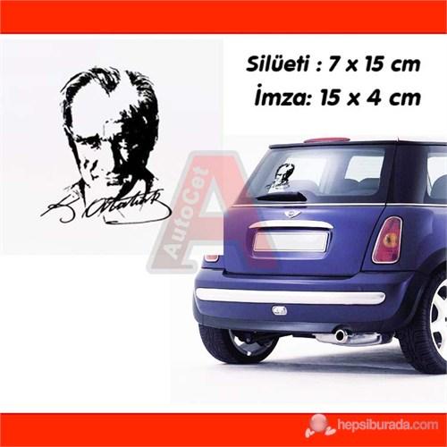 AutoCet SİYAH K.Atatürk ve Silueti İmza Sticker 3241a
