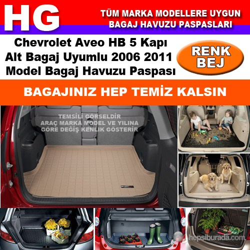 Chevrolet Aveo Hb Alt Bagaj 2006 2011 Bej Bagaj Havuzu Paspası 38653