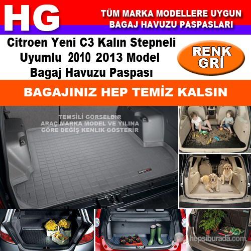 Citroen C3 Kalın Stepneli 2010 2013 Gri Bagaj Havuzu Paspası 38707