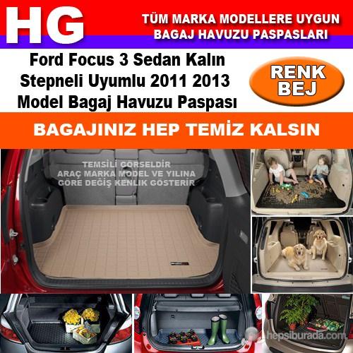Focus 3 Sedan Kalın Stepne 2011 2013 Bej Bagaj Havuzu Paspası 38797