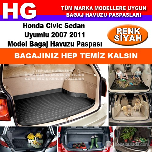Honda Civic Sedan 2007 2011 Siyah Bagaj Havuzu Paspası 38812