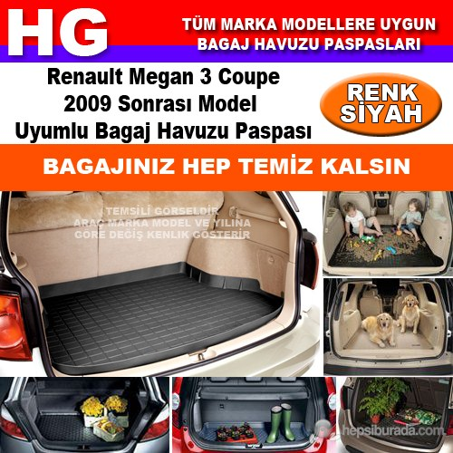 Renault Megan 3 Coupe 2009 Sonrası Siyah Bagaj Havuzu Paspası 39038