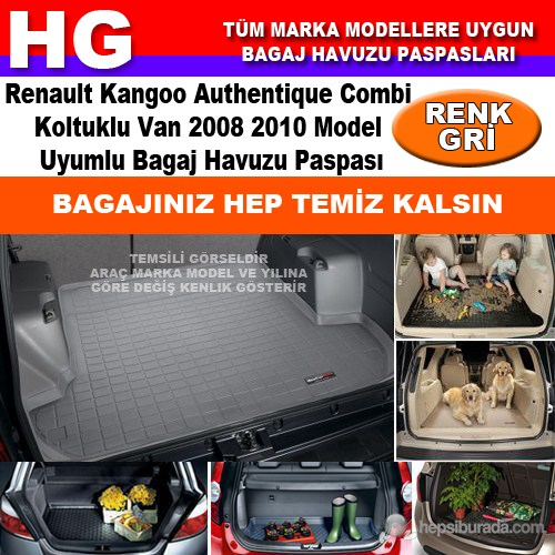 Kangoo Combi Authentique 2008 2010 Gri Bagaj Havuzu Paspası 39055
