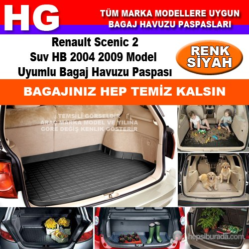 Renault Scenic 2 Suv Hb 2004 2009 Siyah Bagaj Havuzu Paspası 39062