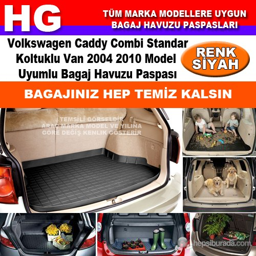 Volkswagen Caddy 2004 2010 Siyah Bagaj Havuzu Paspası 39135