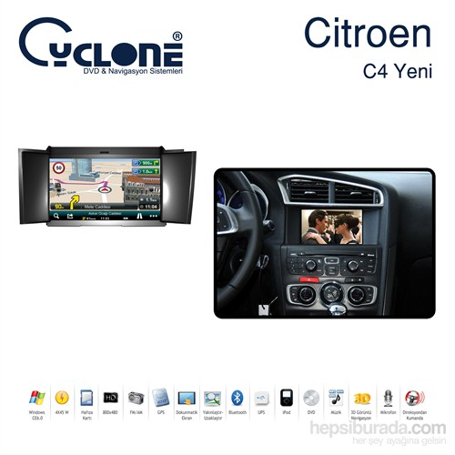 Cyclone CITROEN C4 2012 DVD ve Multimedya Sistemi (Orj. Anten ve Kamera Hediyeli)