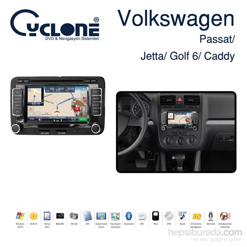 cyclone volkswagen passat / jetta / golf 6 / caddy dvd ve fiyatı