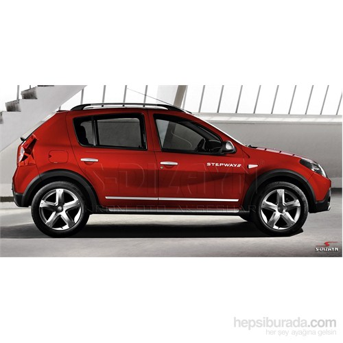 S-Dizayn Dacia Sandero Stepway 2007-2013 Arası Kapı Koruma Çıtası Krom P.Çelik + Abs Plastik 8 Prç.