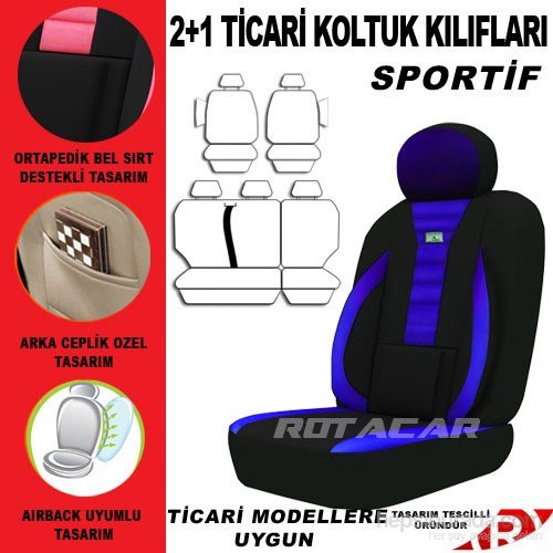 Rotacar Fiat Fiorino Koltuk Kılıf Seti 3N Ortapedik - Mavi Siyah