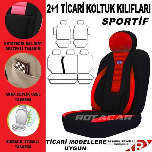 Rotacar Fiat Doblo Koltuk Kılıf Seti 3N Ortapedik - Kırmızı Siyah