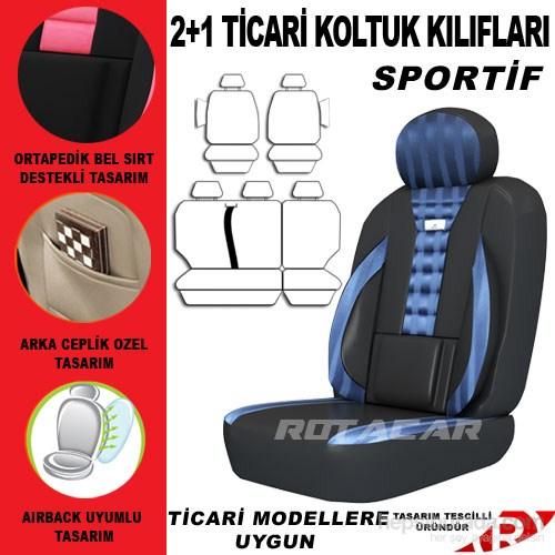 Rotacar Renault Kango Koltuk Kılıf Setiı 3N Ortapedik - Mavi Siyah
