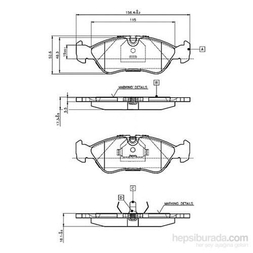 Bosch - Fren Balatası Ön (Opel Astra F (09/91-09/98) [Wva 21190] - [ 156,4X52,8X18,1 Mm ] - - Bsc 0 986 Tb2 016
