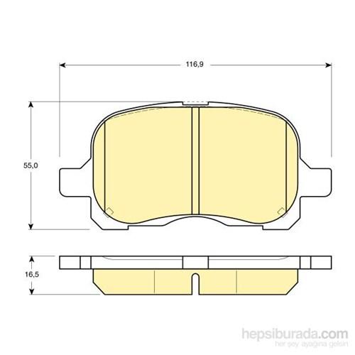 Bosch - Fren Balatası Ön (Toyota Corolla (_E12u_)(_E12j_)(01/02-) [Wva 23294] - [ 116,9X55x16,5 Mm ] - - Bsc 0 986 Tb2 326