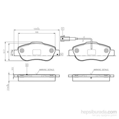 Bosch - Fren Balatası Ön (Fıat Fıorıno 1.4,1.3 D Multijet (02 - Bsc 0 986 Tb3 030