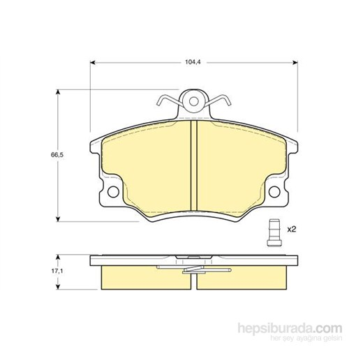Bosch - Fren Balatası Ön (Alfa Romeo 145/146 (930) 1.7 I.E. 16V) [Wva 20719] - [ 104,35X66,5X17 Mm ] - - Bsc 0 986 Tb2 523