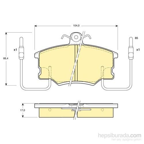 Bosch - Fren Balatası Ön (Fıat Croma (154) (12/85-12/96) [Wva 21094] - [ 104,35X66,5X17 Mm ] - İkaz Kablolu - Bsc 0 986 Tb2 524