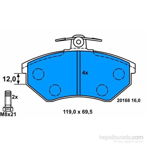 Bosch - Fren Balatası Ön (Seat Cordoba (6K2/C2)(6K5)(02/93-06/99) [Wva 20168] - [ 119,3X69,6X16 Mm ] - - Bsc 0 986 Tb2 004