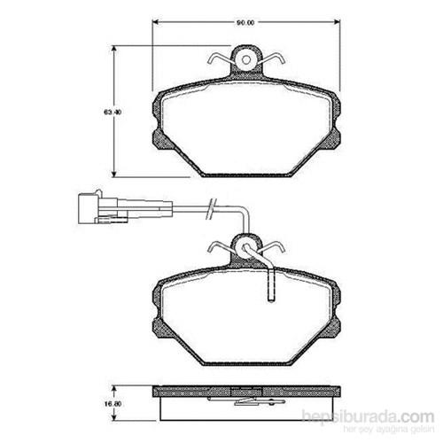 Bosch - Fren Balatası Ön (Fıat Tempra (159)(11/89-08/96) [Wva 21100] - [ 90X63,4X16,8 Mm ] - İkaz Kablolu - Bsc 0 986 Tb2 142