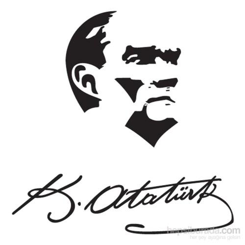 Atatürk Portreli Sticker Siyah 12x9cm