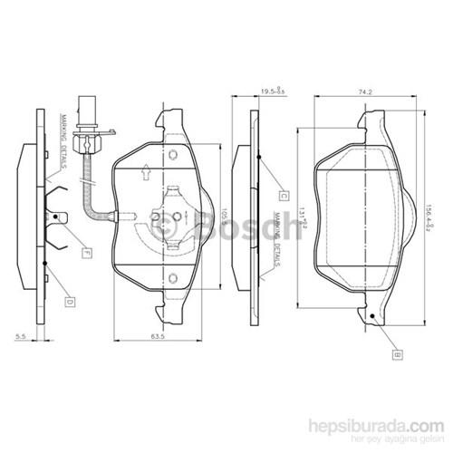Bosch - Fren Balatası Ön Audı A4/ Passat 97-03 Fişli - Bsc 0 986 Tb2 018