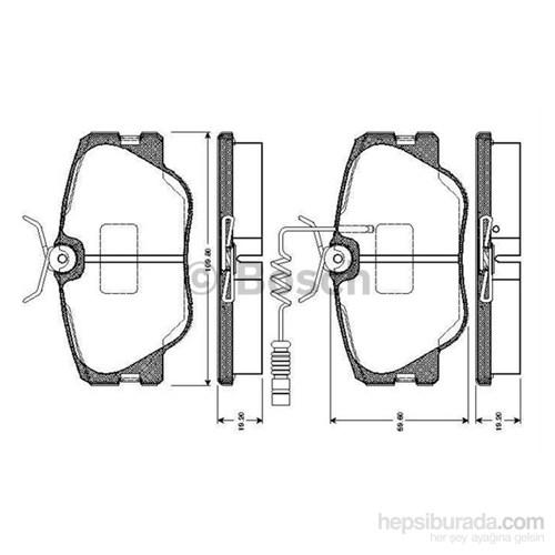 Bosch - Fren Balatası Ön (Mb 190 (W201)(10/82-08/93) [Wva 20941] - [ 109,8X59,6X19,2 Mm ] - İkaz Kablolu - Bsc 0 986 Tb2 099