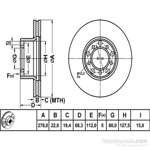 Bosch - Fren Diski Ön [278 / 22-19,4 Mm], Hava Kanallı (Mb Sl) - Bsc 0 986 478 061