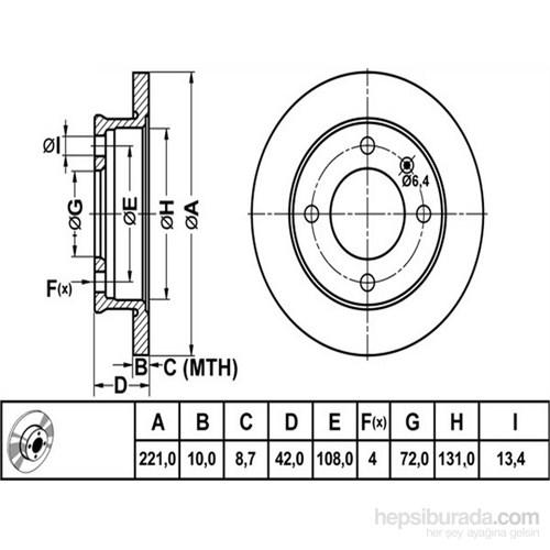 Bosch - Fren Diski Ön [221 / 10-8,7 Mm] (Ford Fıesta) - Bsc 0 986 478 068