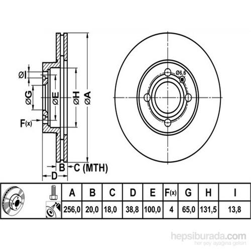Bosch - Fren Diski Ön [256 / 20-18 Mm], Hava Kanallı (Vw Caddy 1) - Bsc 0 986 478 308