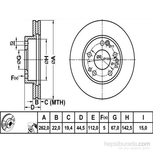 Bosch - Fren Diski Ön [262 / 22-19,4 Mm], Hava Kanallı (Mb 190 E 2.3 (86-93) - Bsc 0 986 478 330