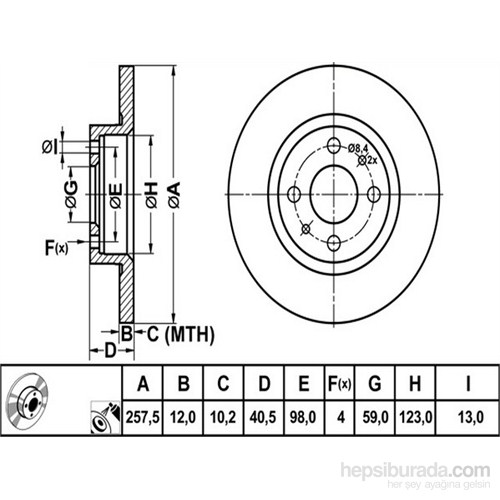 Bosch - Fren Diski Ön [257,5 / 12-10,2 Mm] (Fıat Brava/Bravo/Marea) - Bsc 0 986 478 343