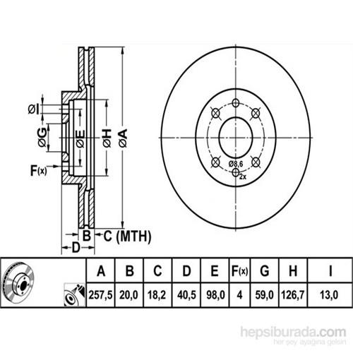 Bosch - Fren Diski Ön Hava Kanallı (Fıat Albea Doblo 1.3 Multijet) - Bsc 0 986 478 515