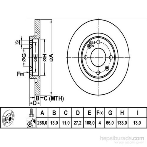 Bosch - Fren Diski Ön [266 / 13-11 Mm] (Cıtroën Berlıngo 1.9 D (96-02) - Bsc 0 986 478 847