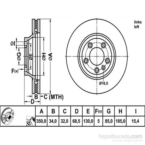 Bosch - Fren Diski Ön Sol Audi Q7 Cayenne Touareg 06> - Bsc 0 986 479 249