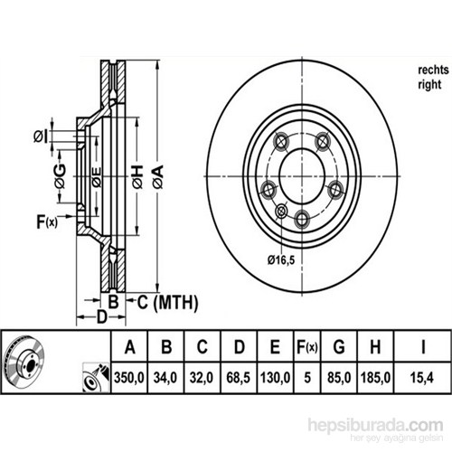 Bosch - Fren Diski Ön Sağ Audi Q7 Cayenne Touareg 06> - Bsc 0 986 479 251