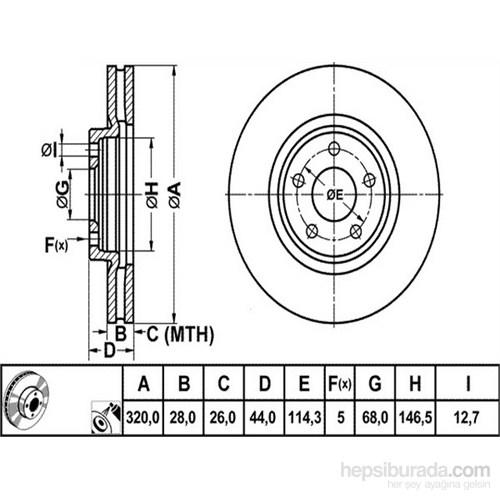 Bosch - Fren Diski Ön Havalı Qashqai+ 2.0 2.2 Dci 4X4 08>320X28x5dl - Bsc 0 986 479 679