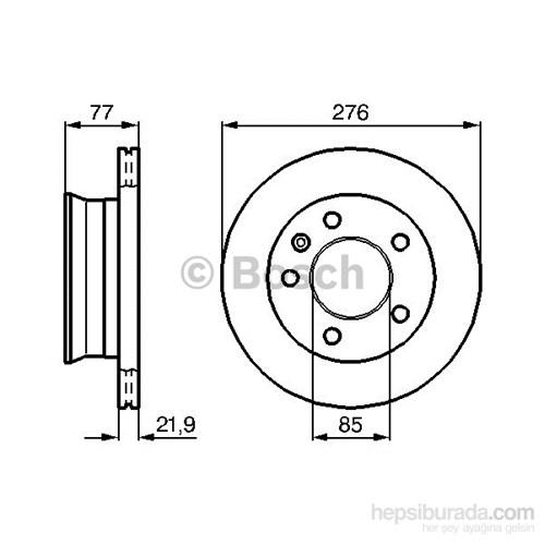 Bosch - Fren Diski Ön Hava Kanallı Takım 5 Bijon (276X22x19) Bm Sprınter-Vw Lt 28-35-46 (96-06) - Bsc 0 986 478 849