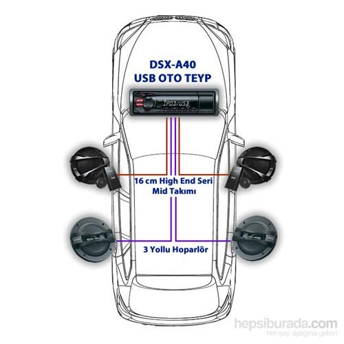 Sony DMR-1720C USB Oto Teyp,17 cm Hoparlör ve MID Takımlı Oto Ses Sistemi Seti