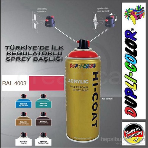 Dupli-Color Hi-Coat Ral 4003 Parlak Koyu Pembe Akrilik Sprey Boya 400 Ml. Made in Germany 406546