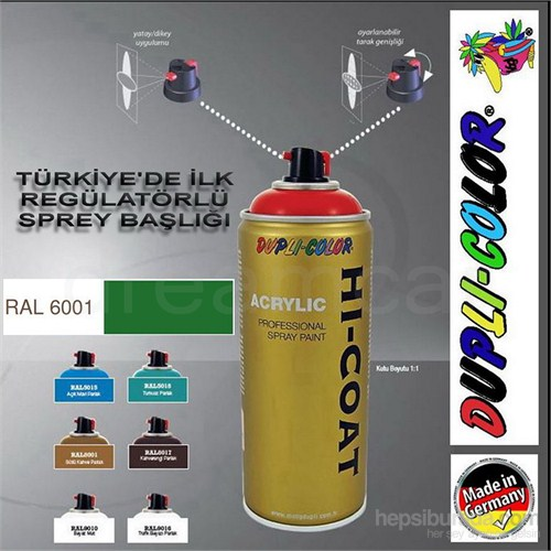 Dupli-Color Hi-Coat Ral 6001 Parlak Yeşil Akrilik Sprey Boya 400 Ml. Made in Germany 406386